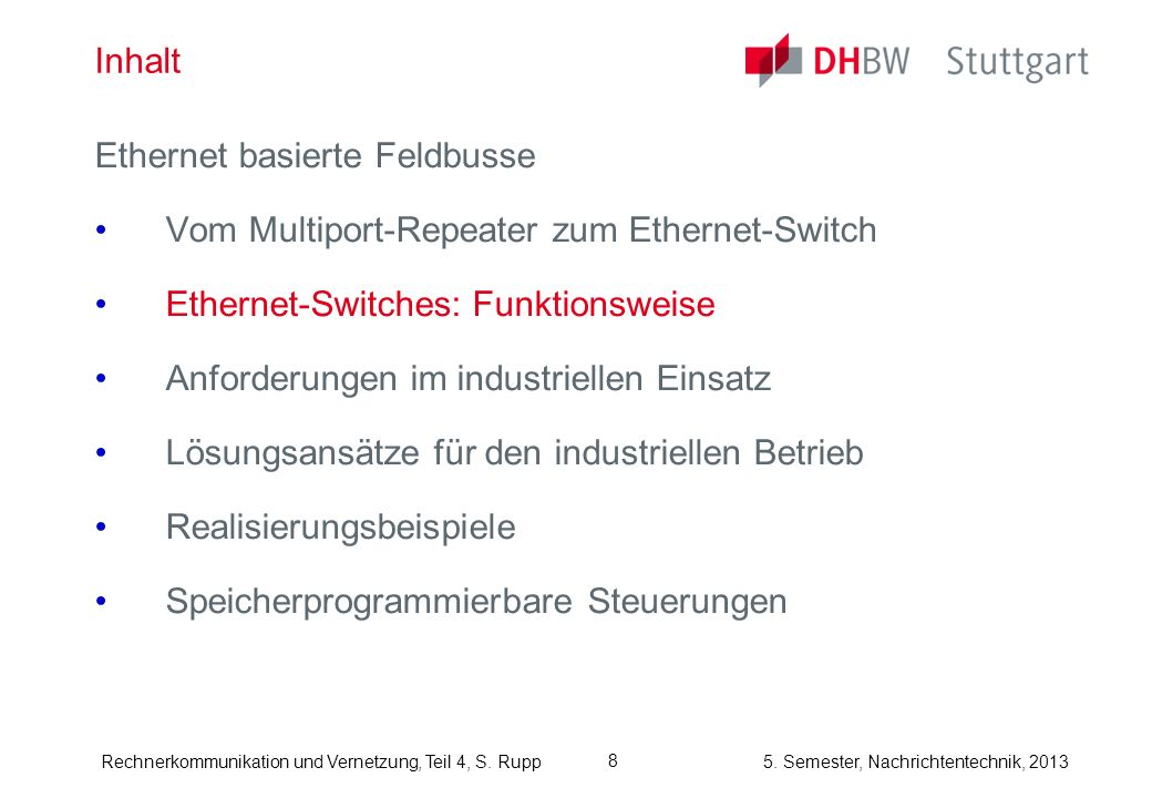 InhaltEthernet basierte Feldbusse. Vom Multiport-Repeater zum Ethernet-Switch. Ethernet-Switches: Funktionsweise.