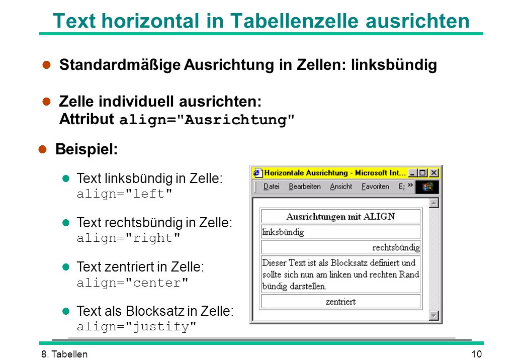 Text horizontal in Tabellenzelle ausrichten