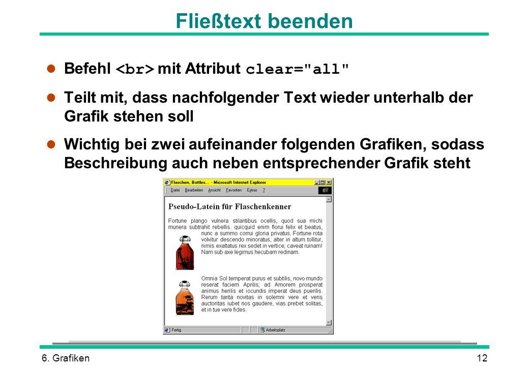 Fließtext beenden Befehl <br> mit Attribut clear= all