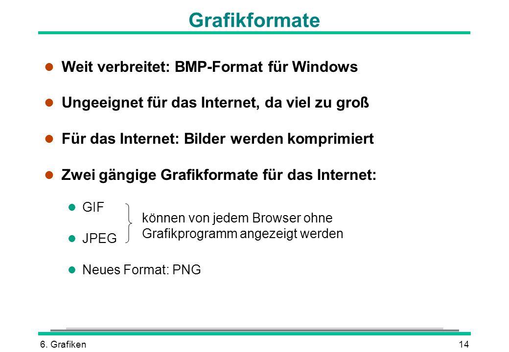 Grafikformate Weit verbreitet: BMP-Format für Windows
