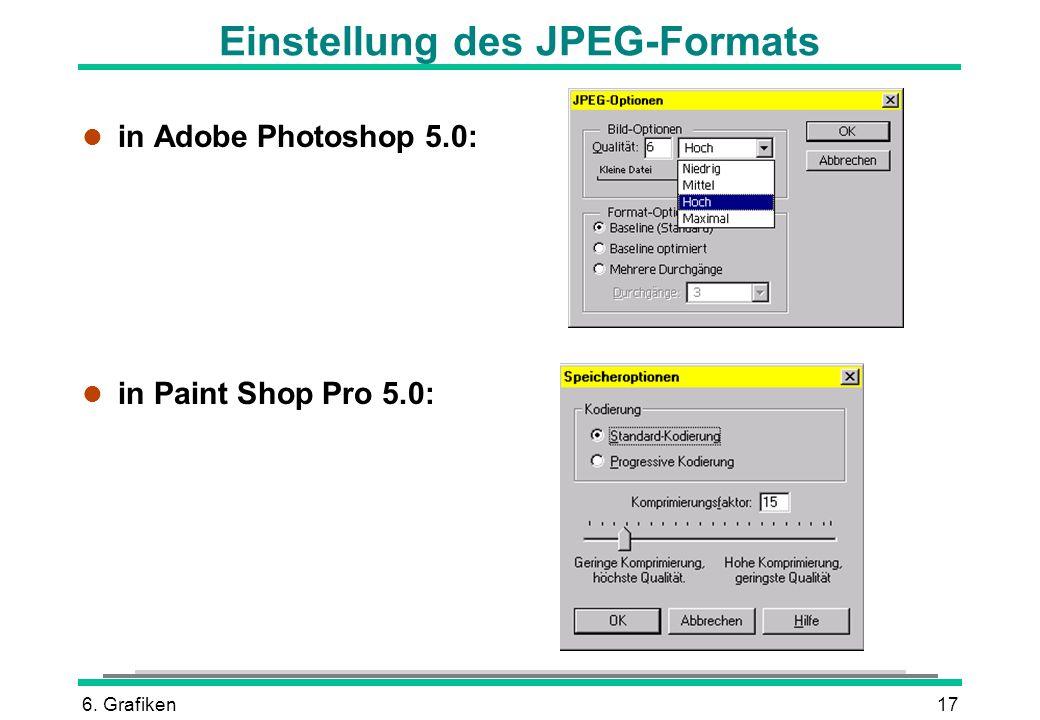 Einstellung des JPEG-Formats