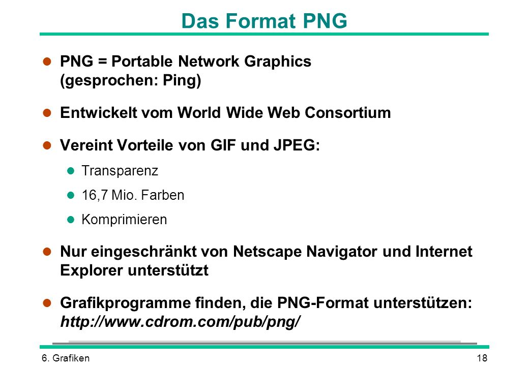 Das Format PNG PNG = Portable Network Graphics (gesprochen: Ping)