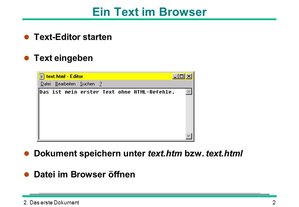 Ein Text im Browser Text-Editor starten Text eingeben