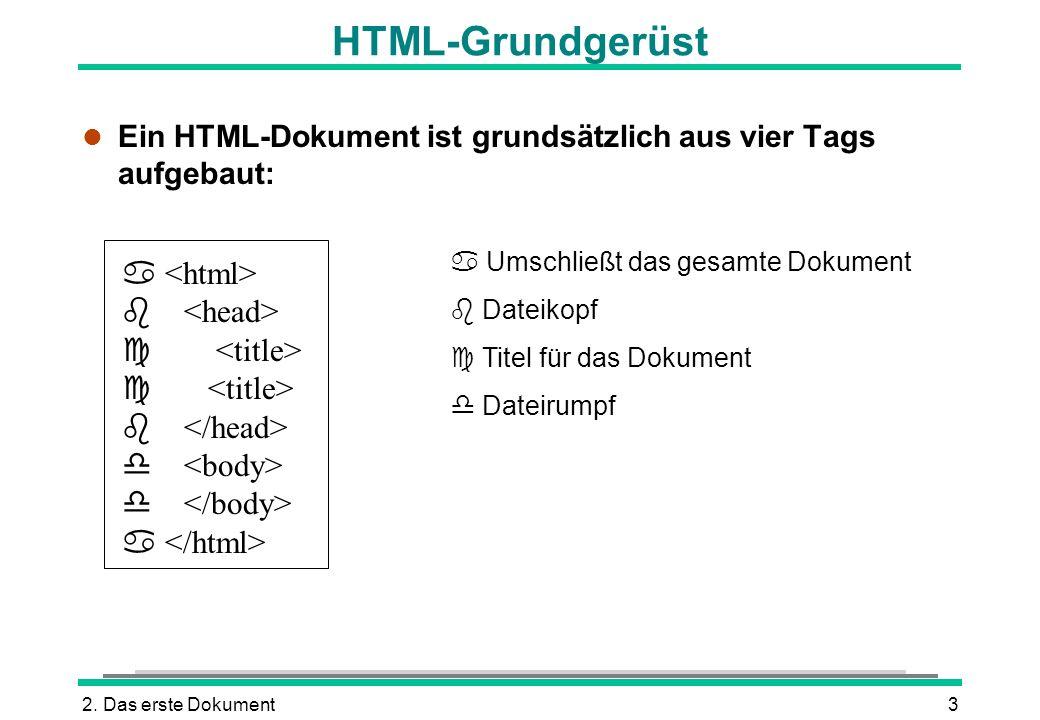 HTML-Grundgerüst  <html>  <head>  <title>