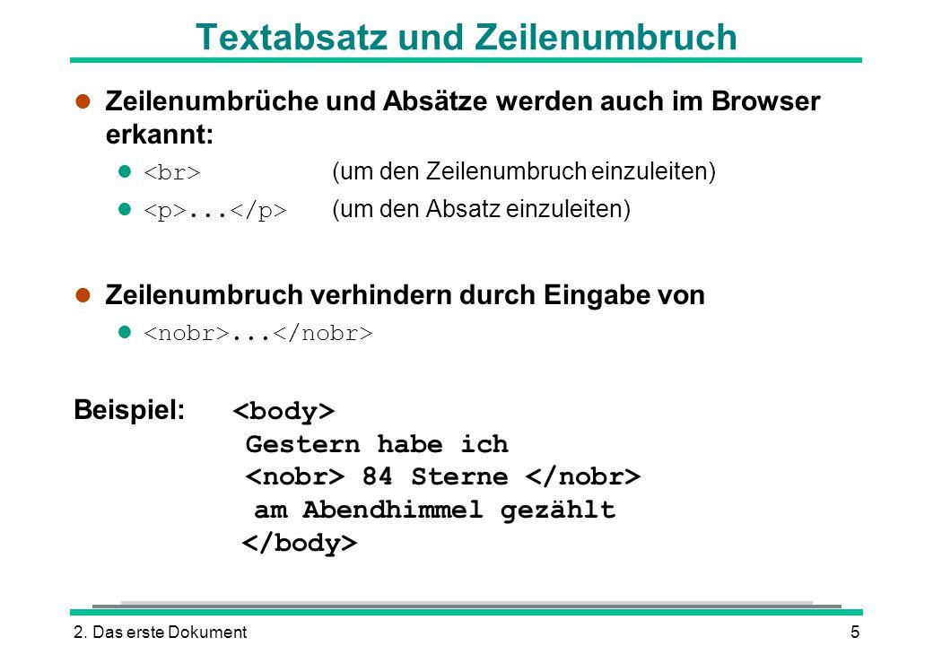 Textabsatz und Zeilenumbruch
