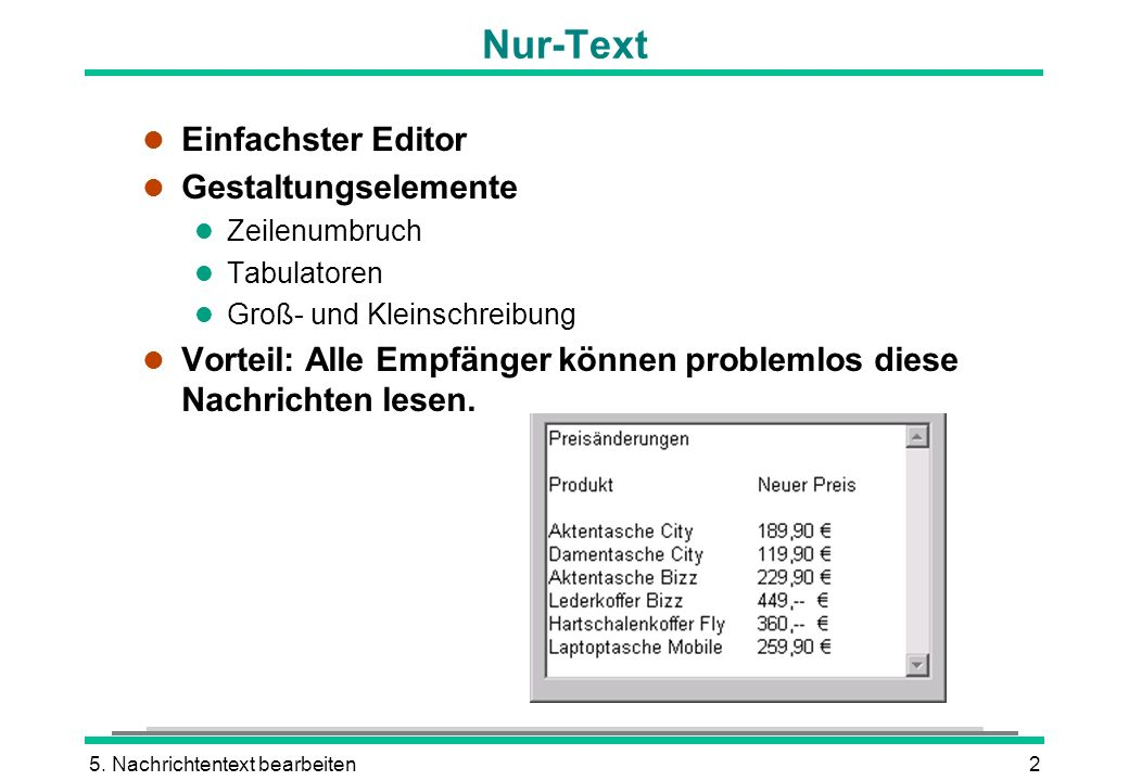 Nur-Text Einfachster Editor Gestaltungselemente