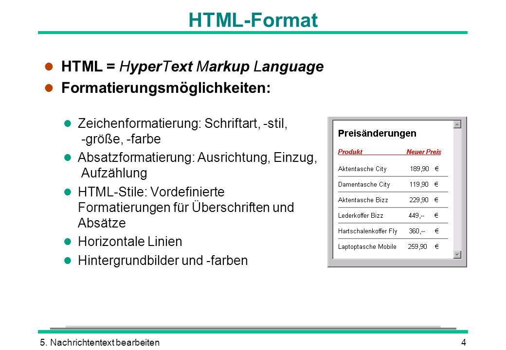 HTML-Format HTML = HyperText Markup Language