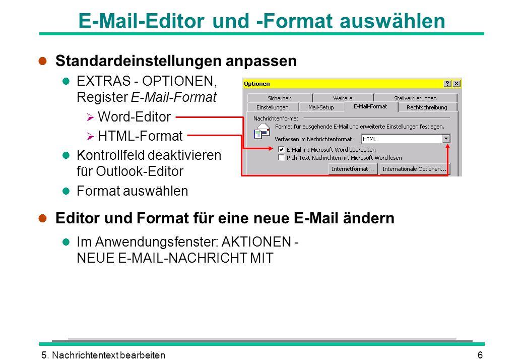 E-Mail-Editor und -Format auswählen