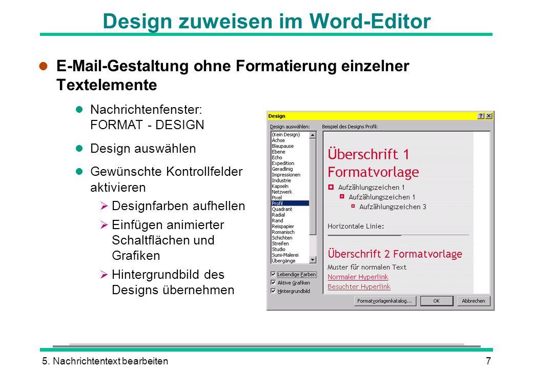 Design zuweisen im Word-Editor