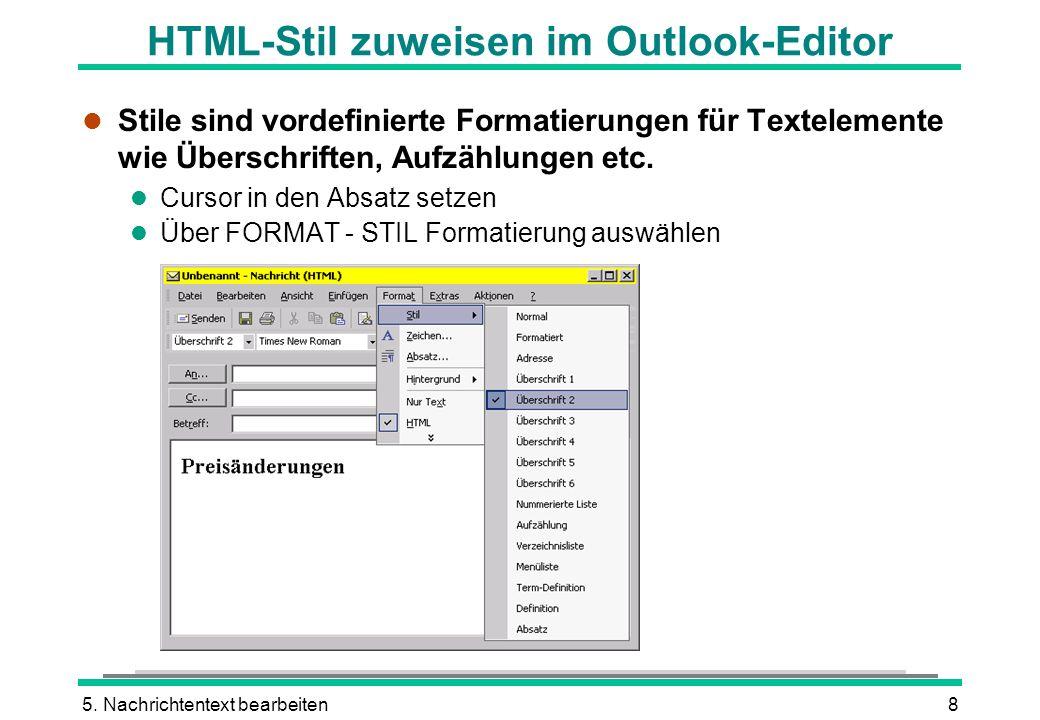 HTML-Stil zuweisen im Outlook-Editor