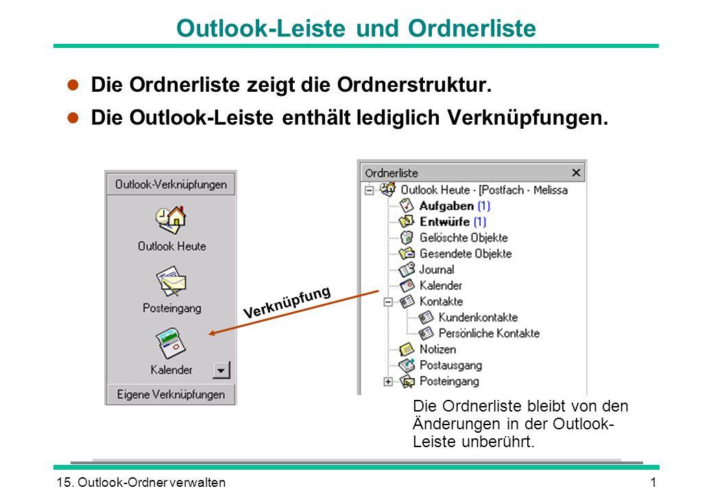 Outlook-Leiste und Ordnerliste