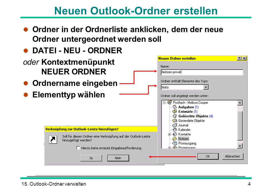 Neuen Outlook-Ordner erstellen