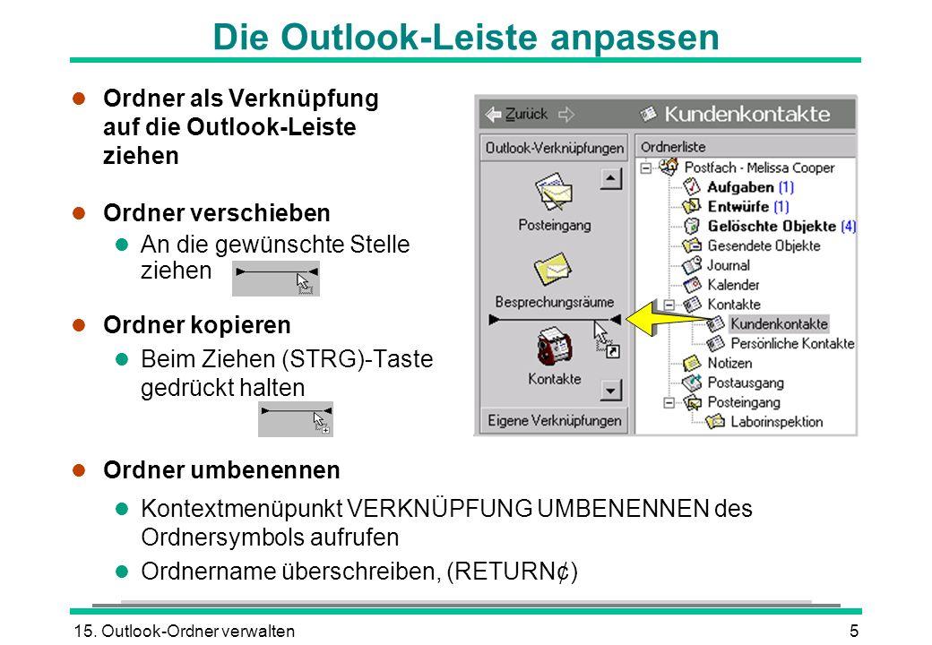 Die Outlook-Leiste anpassen
