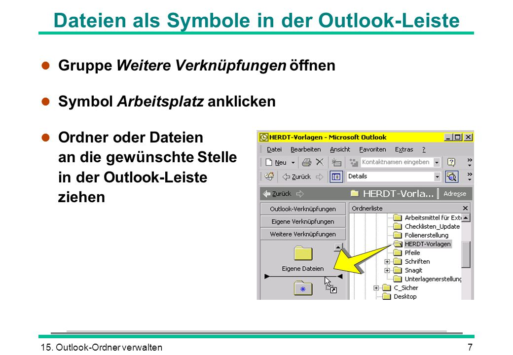 Dateien als Symbole in der Outlook-Leiste