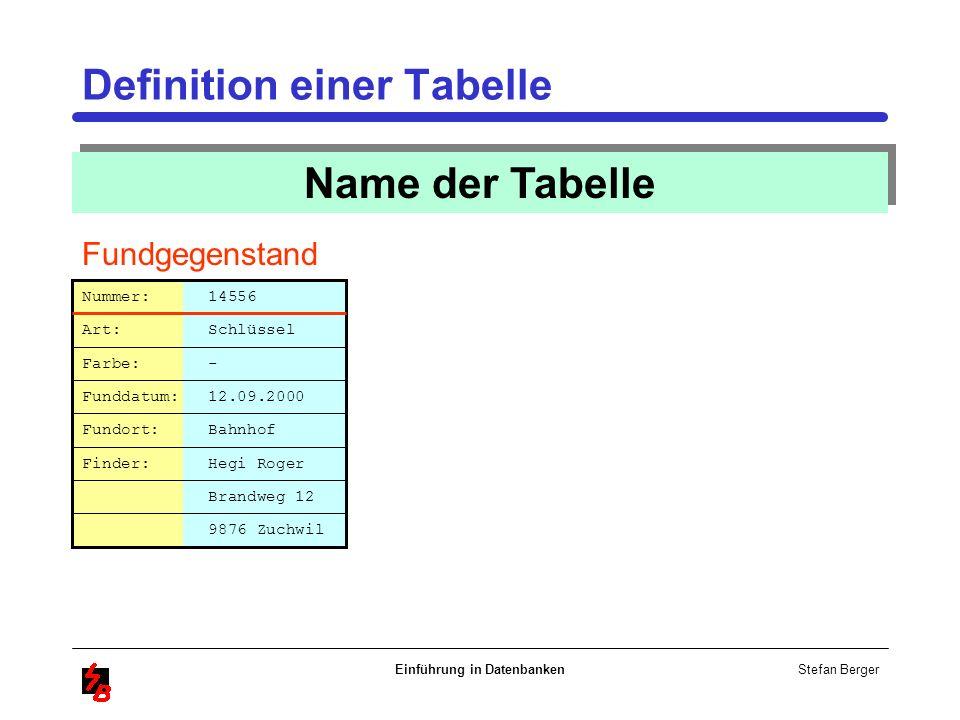 Definition einer Tabelle