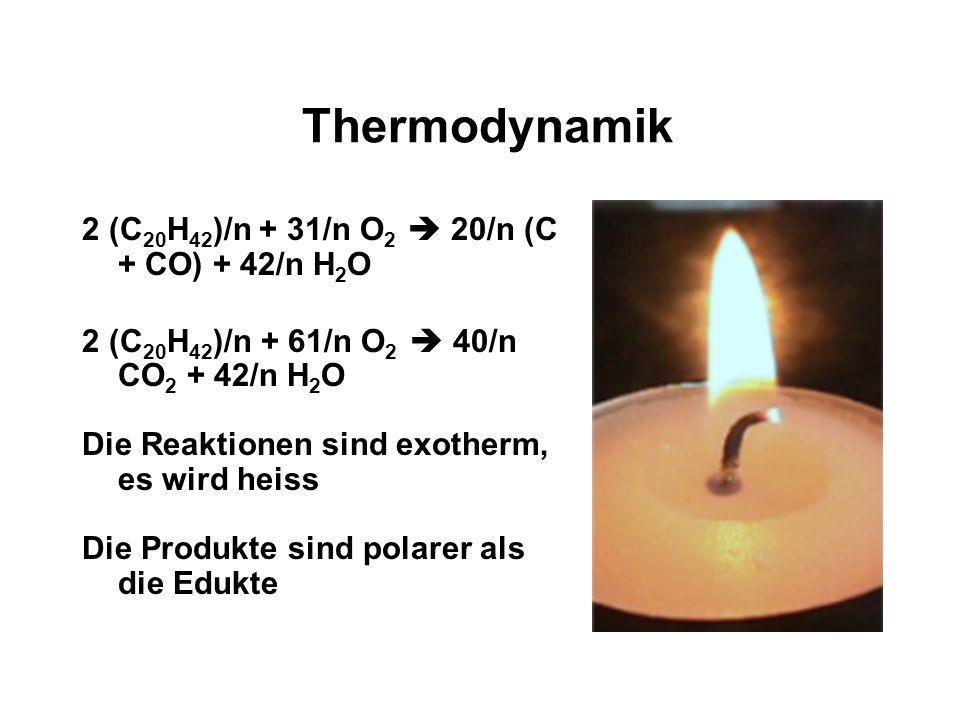 Thermodynamik 2 (C20H42)/n + 31/n O2  20/n (C + CO) + 42/n H2O