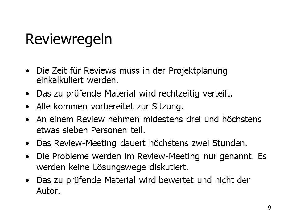 Reviewregeln Die Zeit für Reviews muss in der Projektplanung einkalkuliert werden. Das zu prüfende Material wird rechtzeitig verteilt.