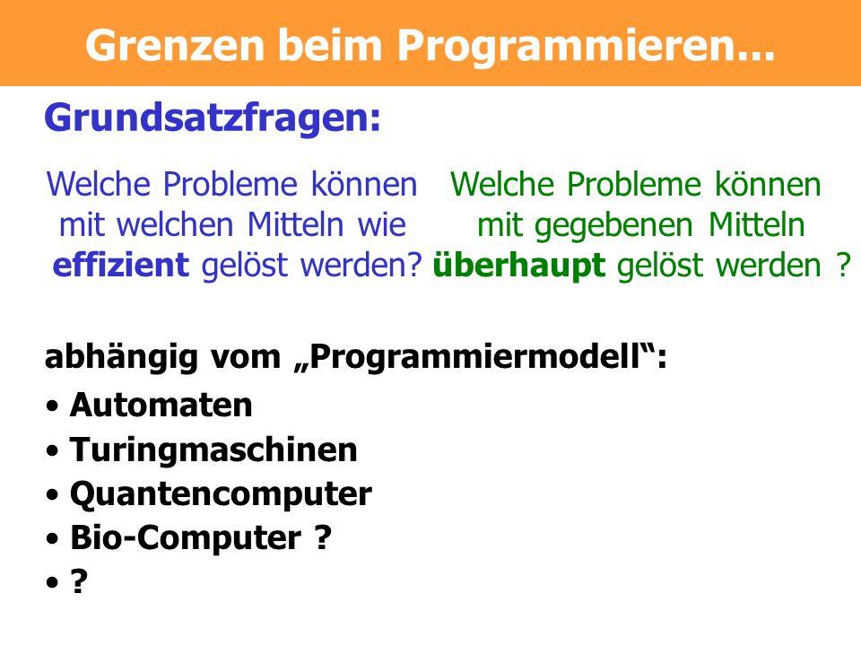 Grenzen beim Programmieren...