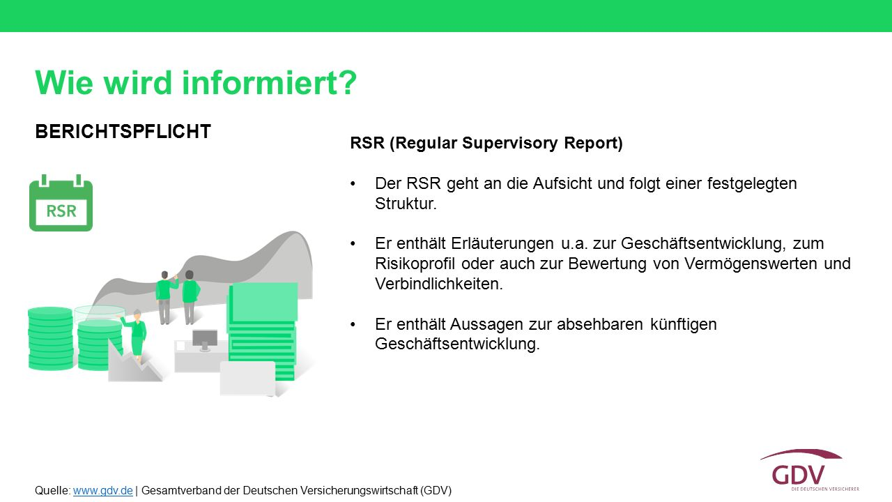Wie wird informiert BERICHTSPFLICHT RSR (Regular Supervisory Report)