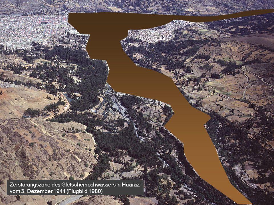 Zerstörungszone des Gletscherhochwassers in Huaraz vom 3