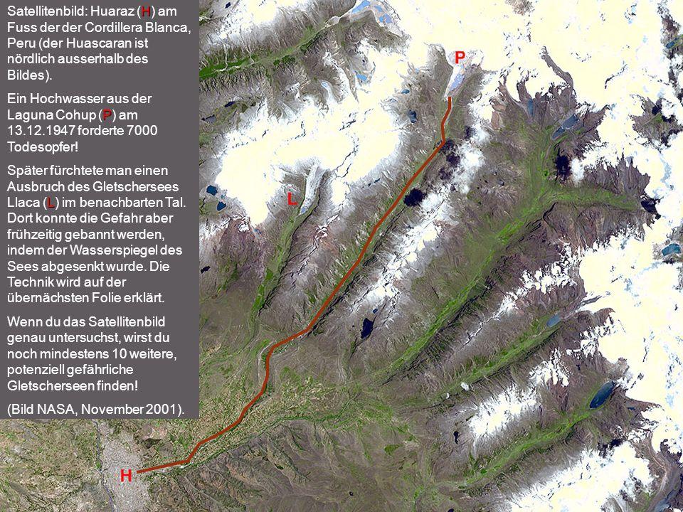 Satellitenbild: Huaraz (H) am Fuss der der Cordillera Blanca, Peru (der Huascaran ist nördlich ausserhalb des Bildes).