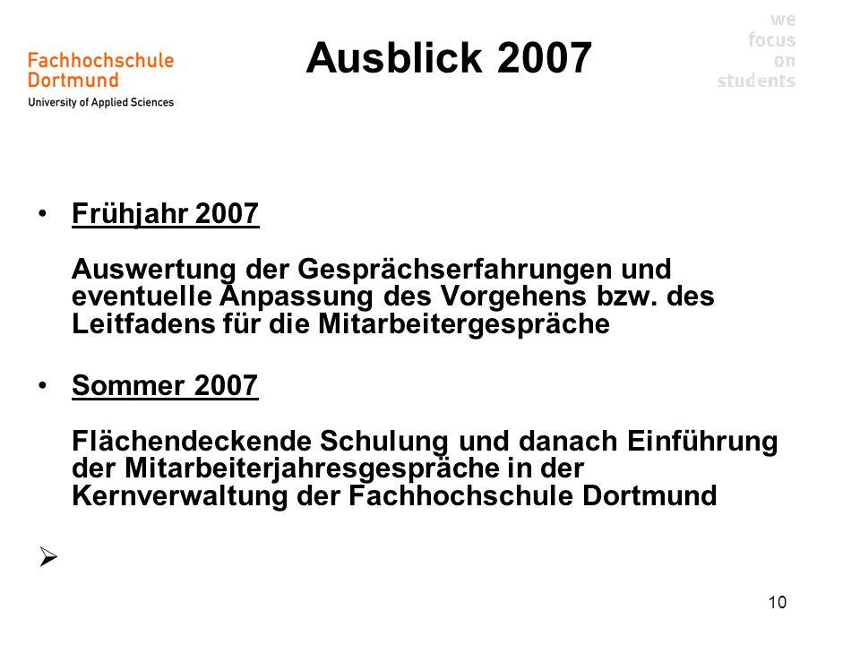 Ausblick 2007
