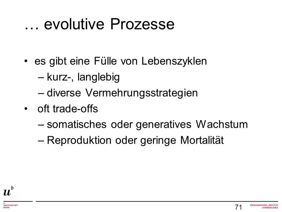 … evolutive Prozesse es gibt eine Fülle von Lebenszyklen