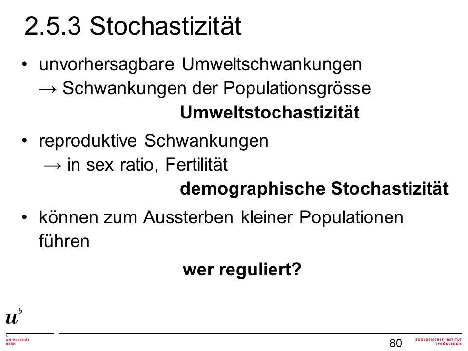 2.5.3 Stochastizität unvorhersagbare Umweltschwankungen → Schwankungen der Populationsgrösse Umweltstochastizität.