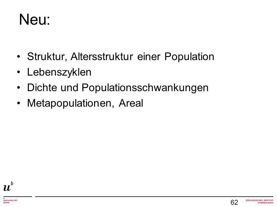 Neu: Struktur, Altersstruktur einer Population Lebenszyklen