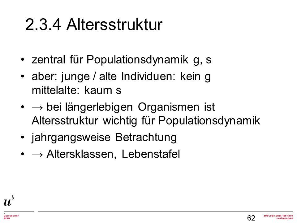 2.3.4 Altersstruktur zentral für Populationsdynamik g, s