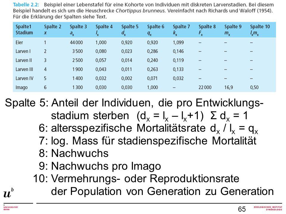 6: altersspezifische Mortalitätsrate dx / lx = qx