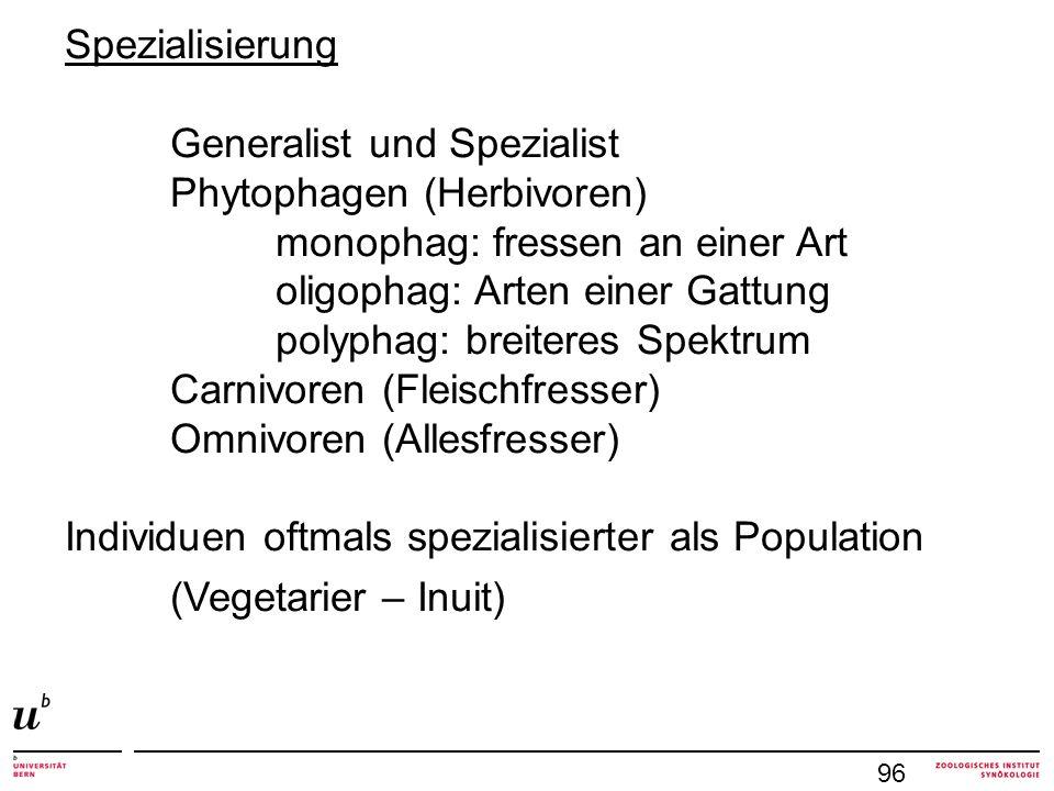 Generalist und Spezialist Phytophagen (Herbivoren)