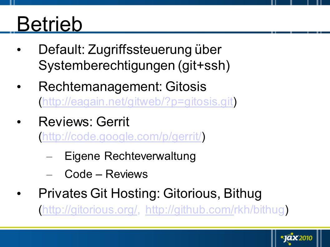 Betrieb Default: Zugriffssteuerung über Systemberechtigungen (git+ssh)