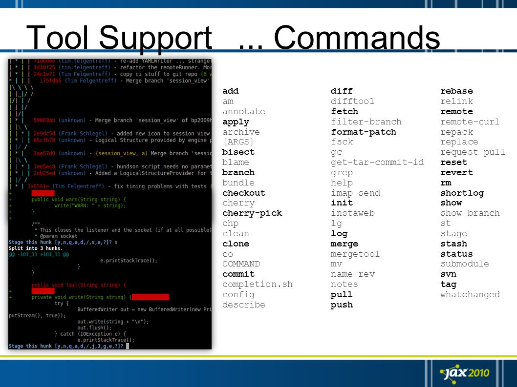 Tool Support ... Commands add diff rebase am difftool relink