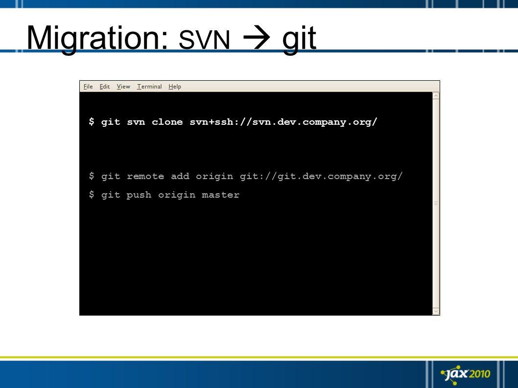 Migration: SVN  git $ git svn clone svn+ssh://svn.dev.company.org/