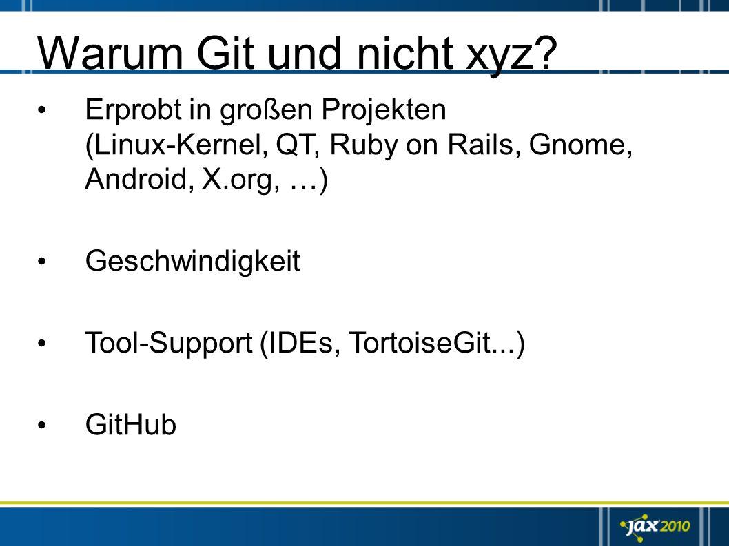 Warum Git und nicht xyz Erprobt in großen Projekten (Linux-Kernel, QT, Ruby on Rails, Gnome, Android, X.org, …)