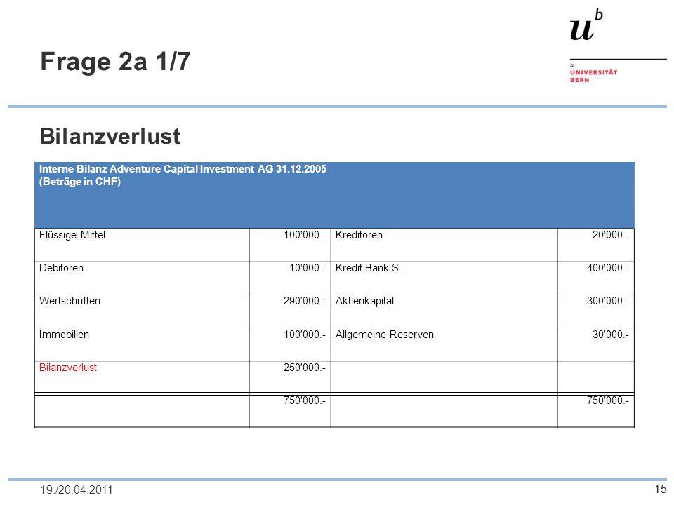 Frage 2a 1/7 Bilanzverlust 19./20.04.2011