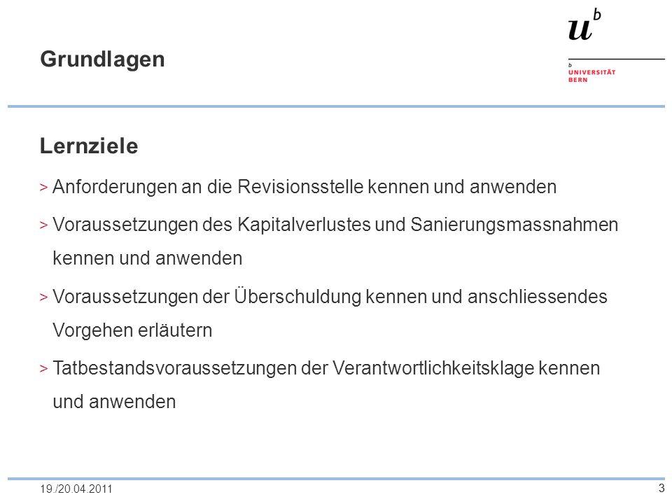 Grundlagen Lernziele. Anforderungen an die Revisionsstelle kennen und anwenden.