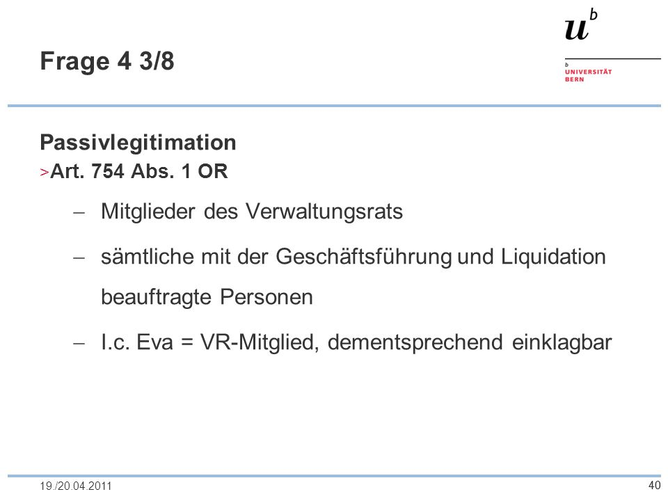 Frage 4 3/8 Passivlegitimation Mitglieder des Verwaltungsrats