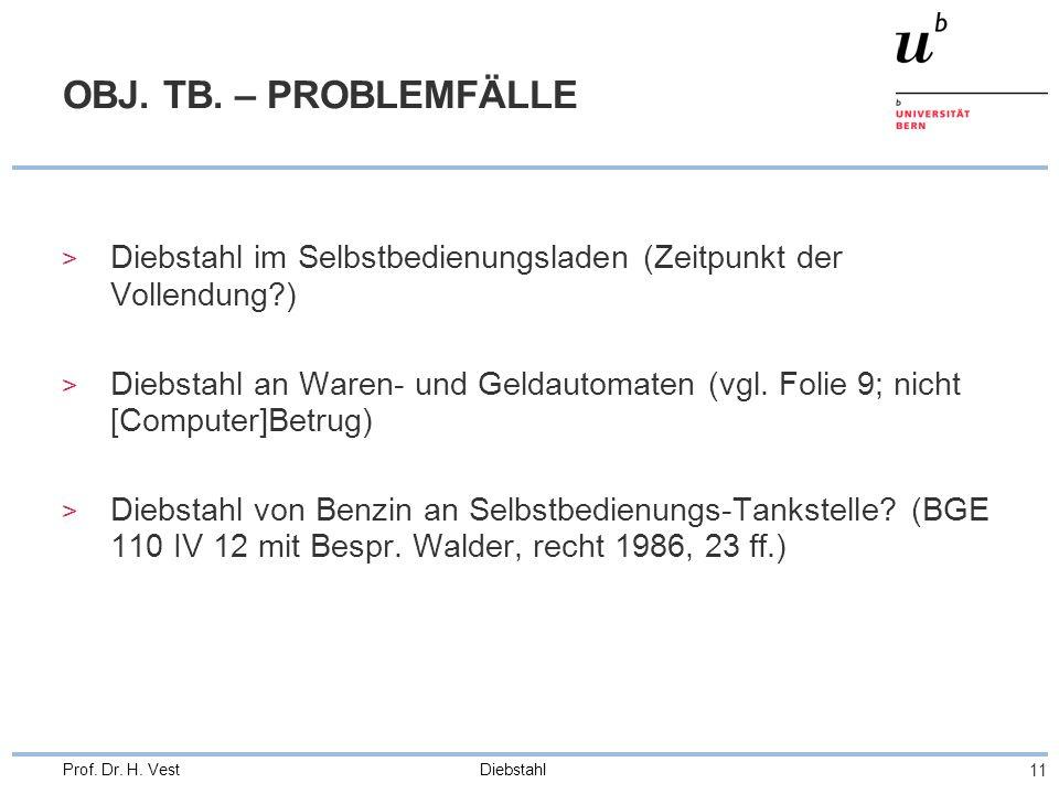 OBJ. TB. – PROBLEMFÄLLE Diebstahl im Selbstbedienungsladen (Zeitpunkt der Vollendung )