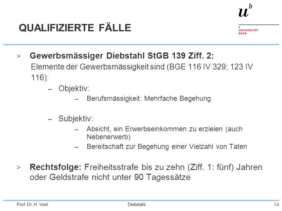 QUALIFIZIERTE FÄLLE Gewerbsmässiger Diebstahl StGB 139 Ziff. 2: