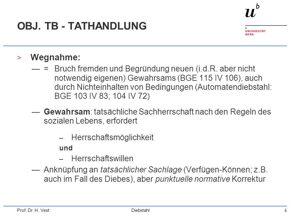 OBJ. TB - TATHANDLUNG Wegnahme: