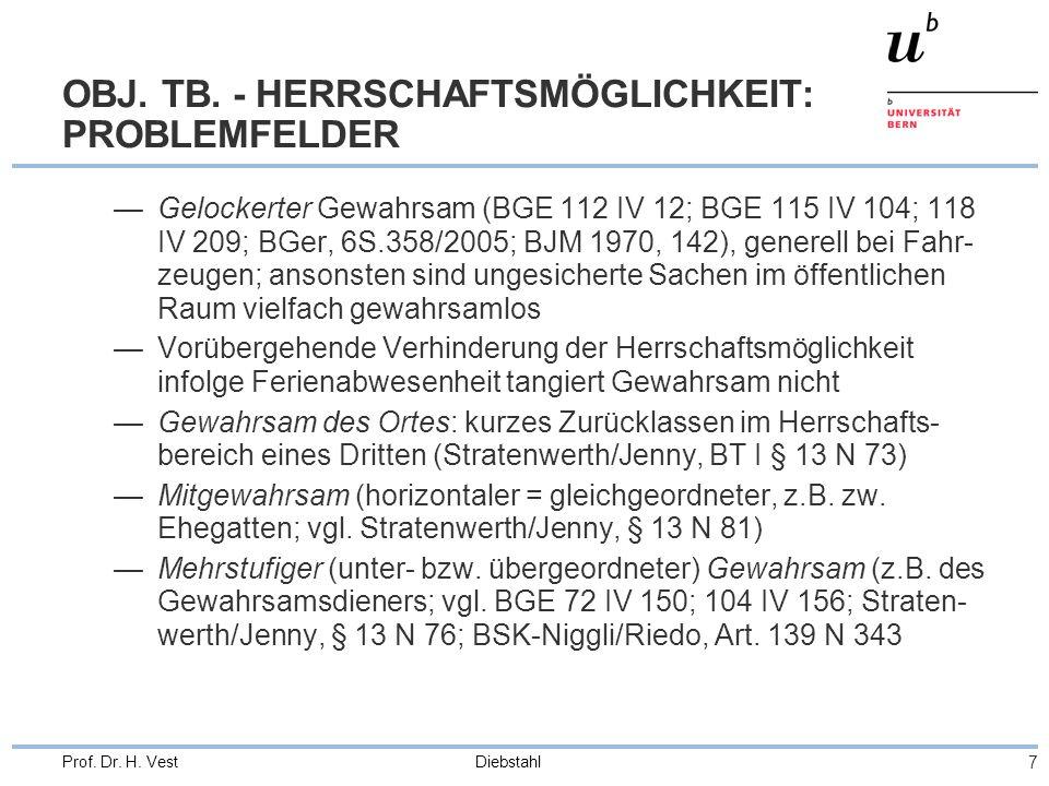 OBJ. TB. - HERRSCHAFTSMÖGLICHKEIT: PROBLEMFELDER