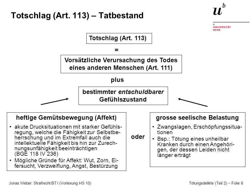 Totschlag (Art. 113) – Tatbestand