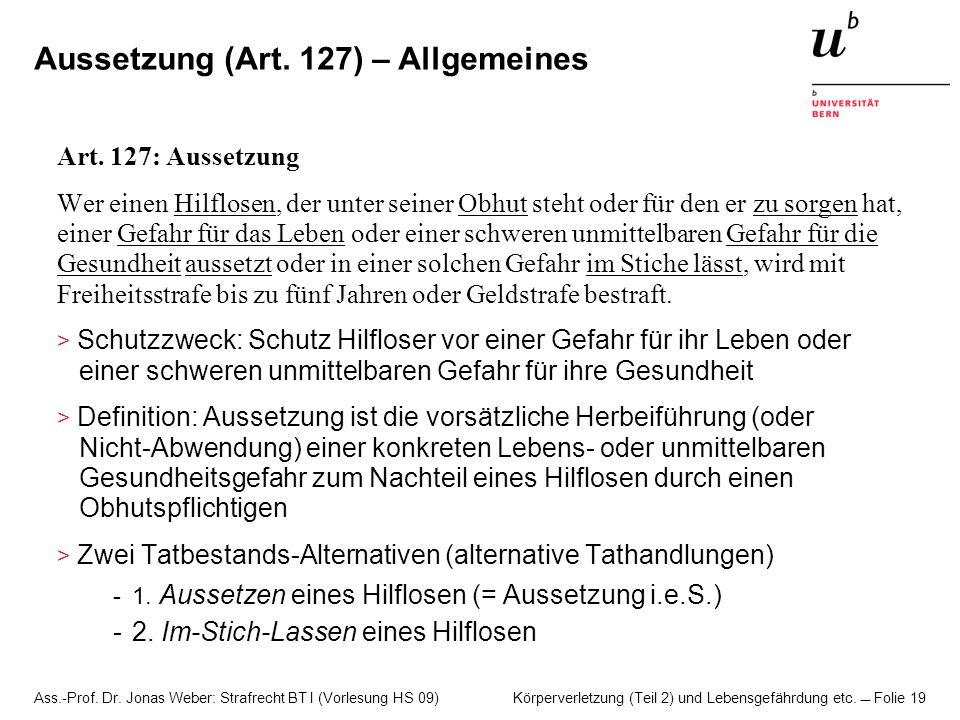 Aussetzung (Art. 127) – Allgemeines