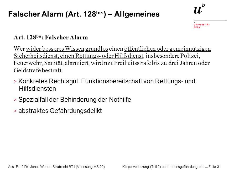 Falscher Alarm (Art. 128bis) – Allgemeines