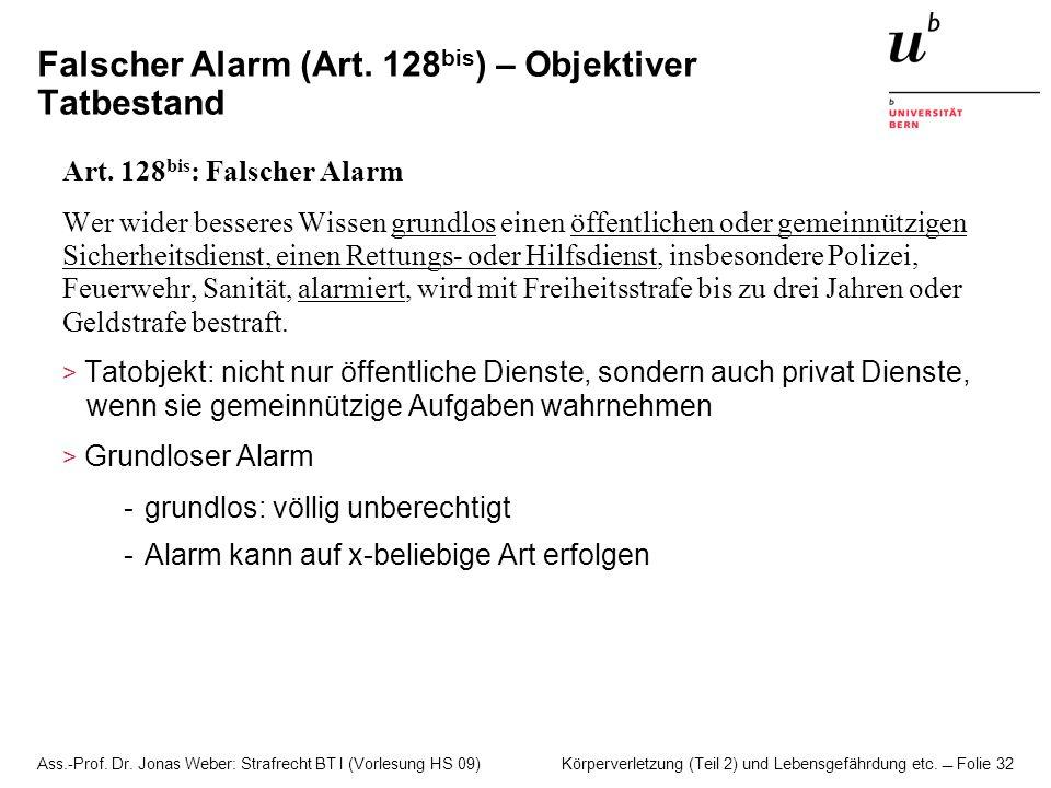 Falscher Alarm (Art. 128bis) – Objektiver Tatbestand
