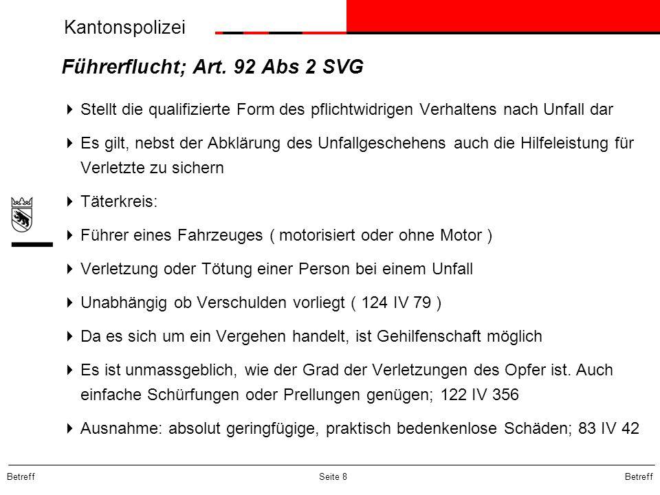 Führerflucht; Art. 92 Abs 2 SVG