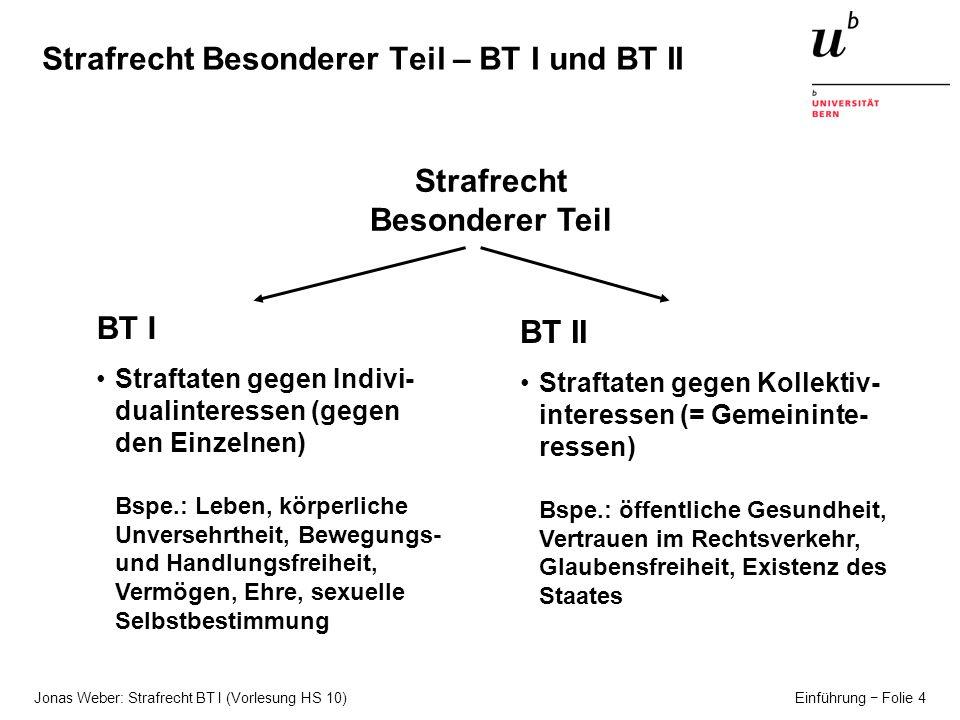 Strafrecht Besonderer Teil – BT I und BT II