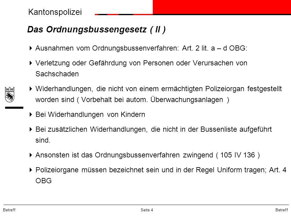 Das Ordnungsbussengesetz ( II )